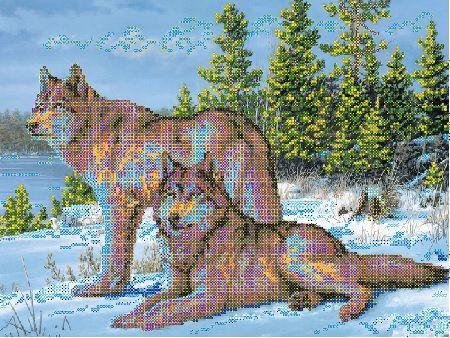 В1097 Канва с рисунком Alisena 'Волки на опушке', 35*26 см