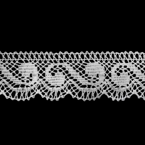 50-1443-16/01 Тесьма вяз ажур х/б 35мм*25м бел одностор.