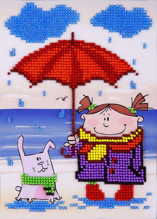 L614 Набор для вышивания бисером 13*18см 'Под дождем'