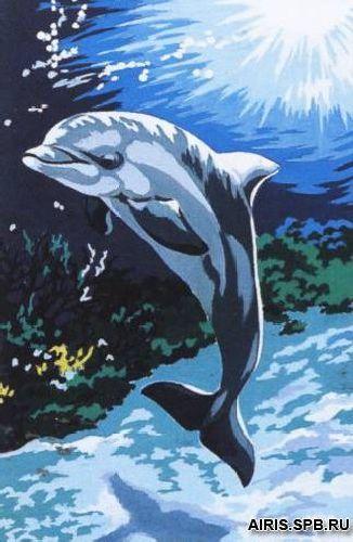 SE928-137 Канва с рисунком SEG de Paris 'Дельфин' 30*40 см