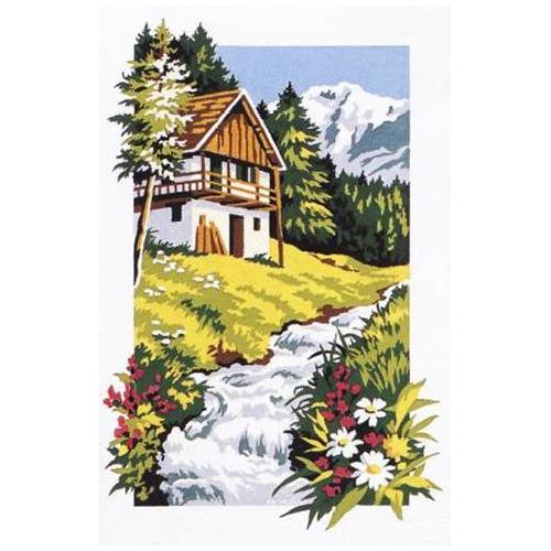 SE928-196 Канва с рисунком SEG de Paris 'Домик в альпах' 30*40 см