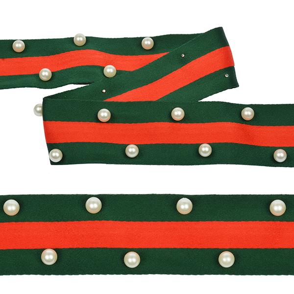 Тесьма-стропа TBY Лампас с бусинами PB8 шир.40мм цв.зеленый/красный уп.13.71м, TBYPB8