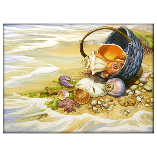 АЖ-1069 Картина стразами 'Алмазная живопись' 'Ракушки в корзине', 40*29 см