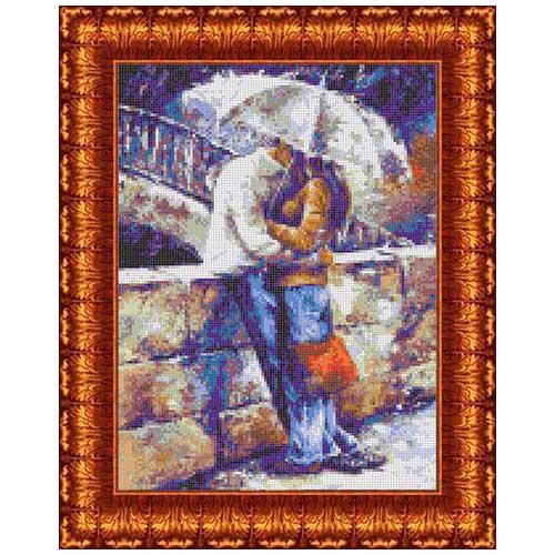 Кткн 134 Набор для вышивания Каролинка 'Двое под зонтом'22х30,5см