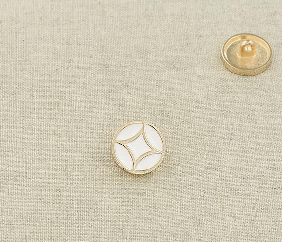 Пуговица металл ПМ108 14мм золото белая эмаль, 2135001281153