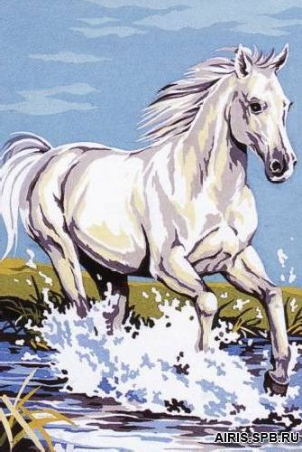 SE928-258 Канва с рисунком SEG de Paris 'Белая лошадь' 30*40 см