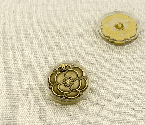 Пуговица металл ПМ111 24мм бронза цветок пластиковая рамка, 2135001281207
