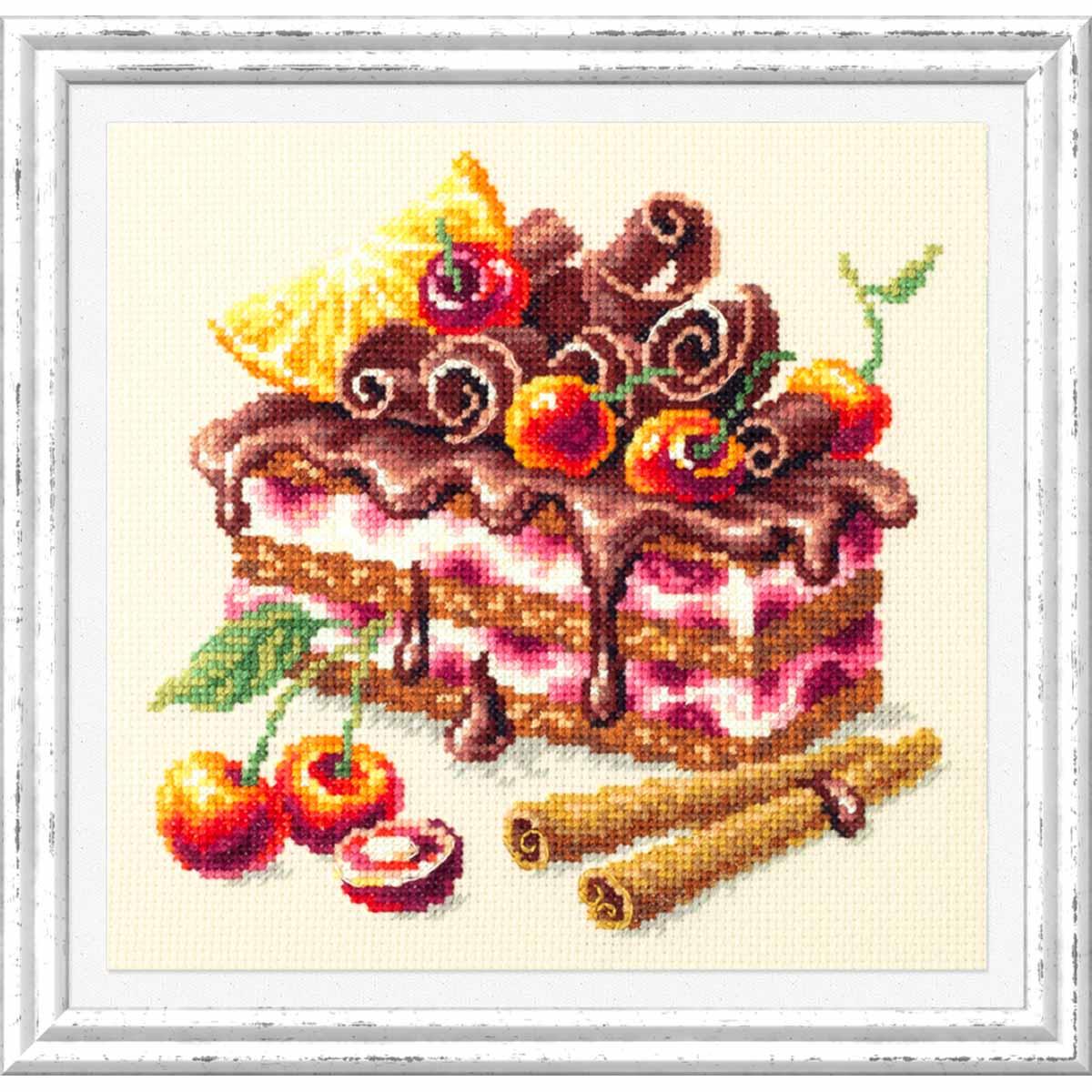120-072 Набор для вышивания Чудесная игла 'Вишневый торт' 17х17см