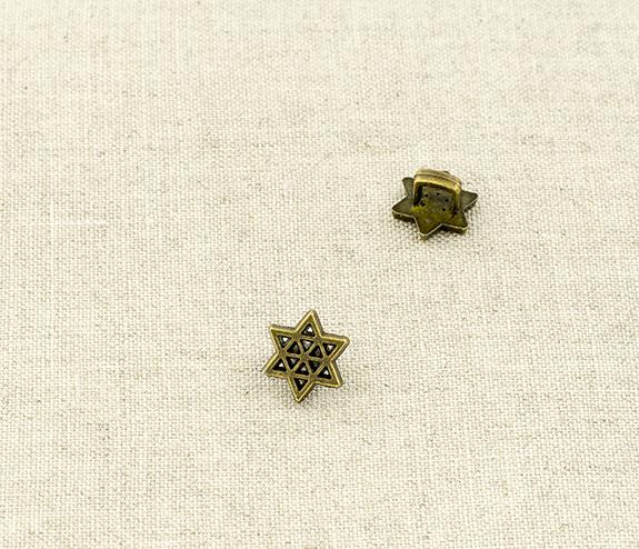 Пуговица металл ПМ114 10мм бронза звездочка, 2135001281238