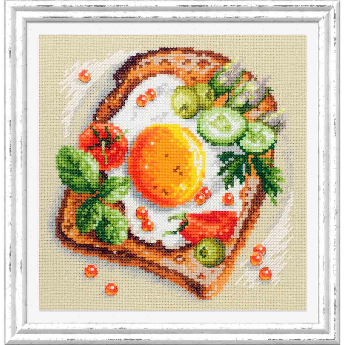120-092 Набор для вышивания Чудесная игла 'Тост с яичницей' 16х16см