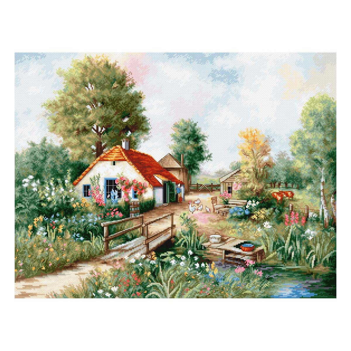 BU4011 Набор для вышивания 'Деревенский пейзаж' 46*35см, Luca-S