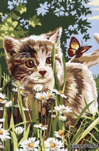 SE928-292 Канва с рисунком SEG de Paris 'Котенок с бабочкой' 30*40 см