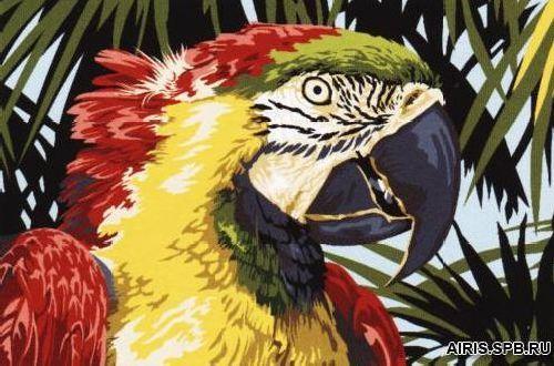 SE928-296 Канва с рисунком SEG de Paris 'Красный попугай' 30*40 см