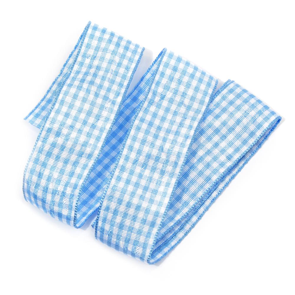 Лента тканевая с рисунком Клетка арт.TBY.LDTK2402 шир.25мм цв.голубой/белый уп.20м, TBYLDTK2402