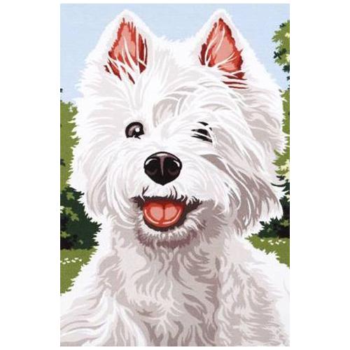 SE928-305 Канва с рисунком SEG de Paris 'Белый щенок' 30*40 см
