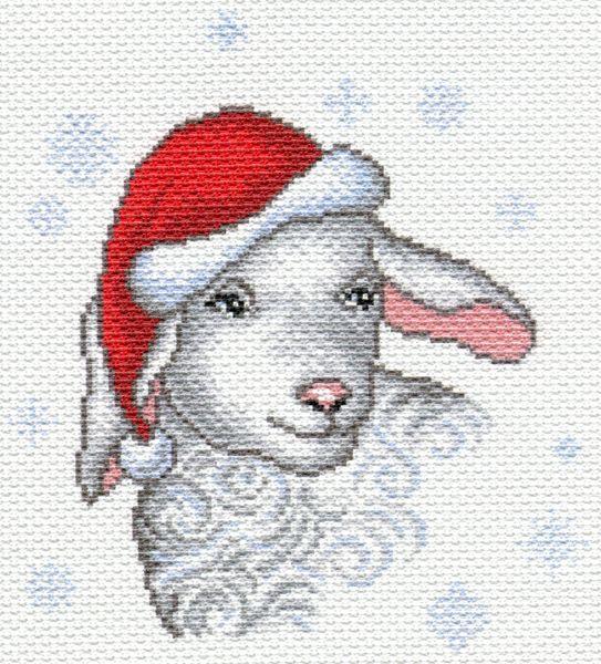 1609 Канва с рисунком 'Матренин Посад' 'Снежная овечка', 28*34 см