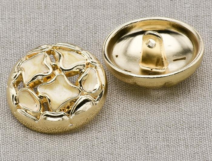 Пуговица металл ПМ12 24мм эмаль бежевая золото, 2135001248927