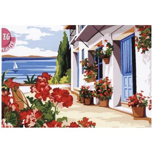 SE928-322 Канва с рисунком SEG de Paris 'Терраса в цветах' 30*40 см