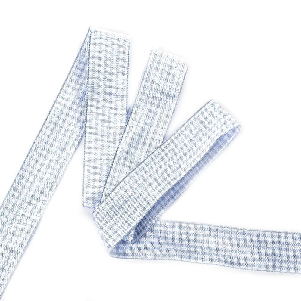 Лента тканевая с рисунком Клетка арт.TBY.LDTK2406 шир.25мм цв.серо-голубой/белый уп.20м, TBYLDTK2406