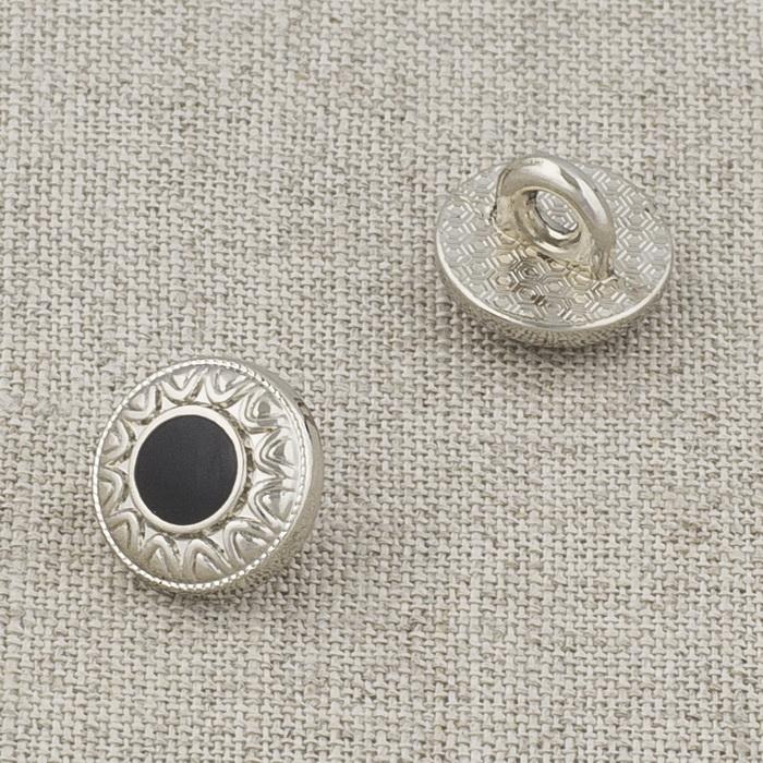 Пуговица металл ПМ121 10мм серебро черная эмаль узор, 2135001283744
