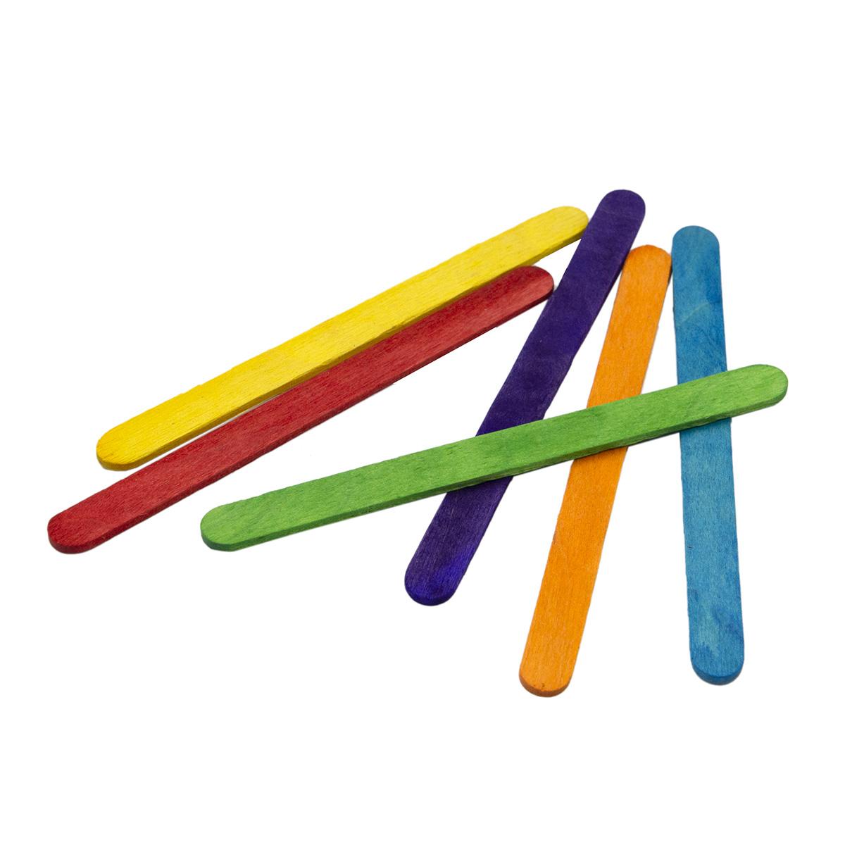 AR1153 Палочки деревянные цветные обработанные 11,4см, 48шт/упак