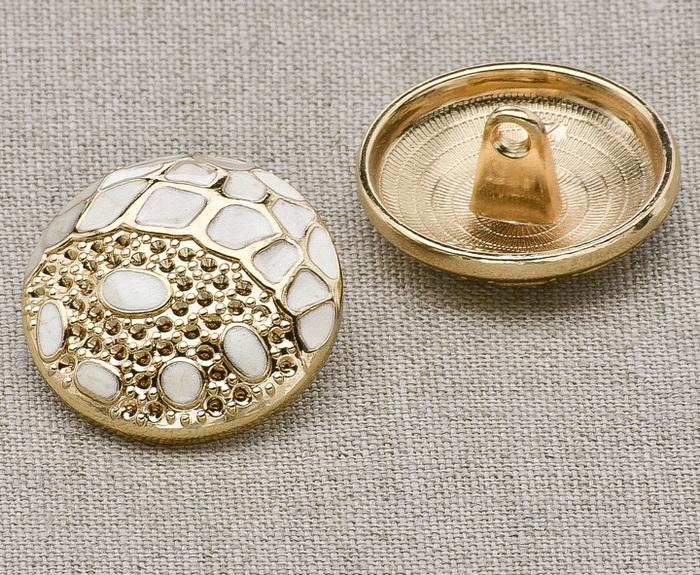 Пуговица металл ПМ13 21мм эмаль кремовая золото, 2135001248941
