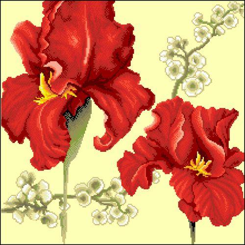 Ц-027 Канва с рисунком 'Гелиос' 'Красные ирисы', 39х39 см