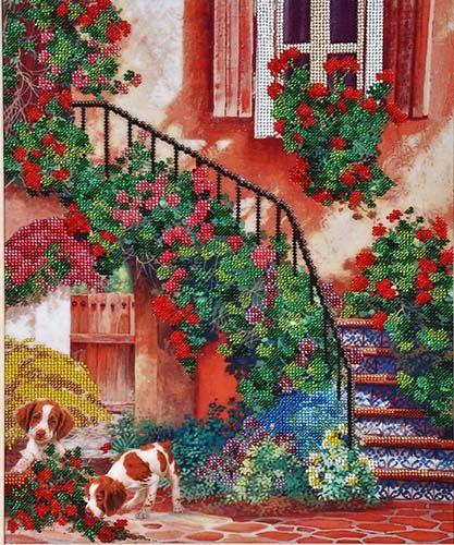 БН-3073 Набор для вышивания бисером Hobby&Pro 'Цветочный дворик', 30*36 см