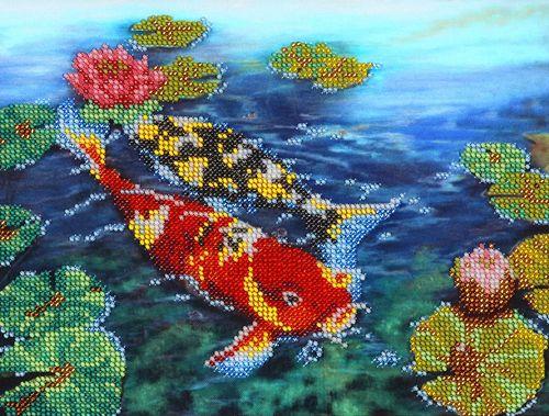 НР-3011 Канва с рисунком для вышивания бисером 'Карпы' Hobby&Pro 25*19см
