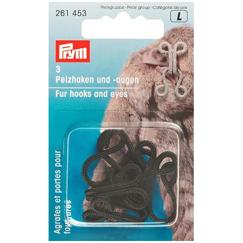 261453 Крючки и петли для меховых изделий (сталь) черный цв. Prym