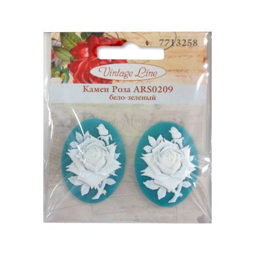ARS0209 Камеи 'Роза', (полимер), бело-зеленый, 3*4*0,5 см, упак./2 шт., Vintage Line