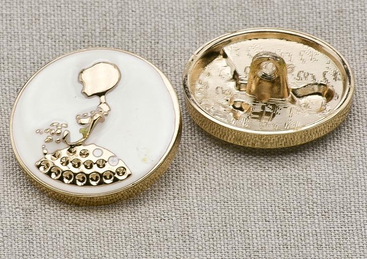 Пуговица металл ПМ20 2уп*3мм белая эмаль золото девочка, 2135001249108