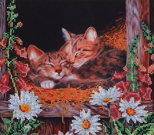 НР-3003 Канва с рисунком для вышивания бисером 'Спящие котята' Hobby&Pro 25*22см