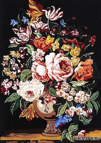 SE929-223 Канва с рисунком SEG de Paris 'Ваза с цветами' 45*60 см