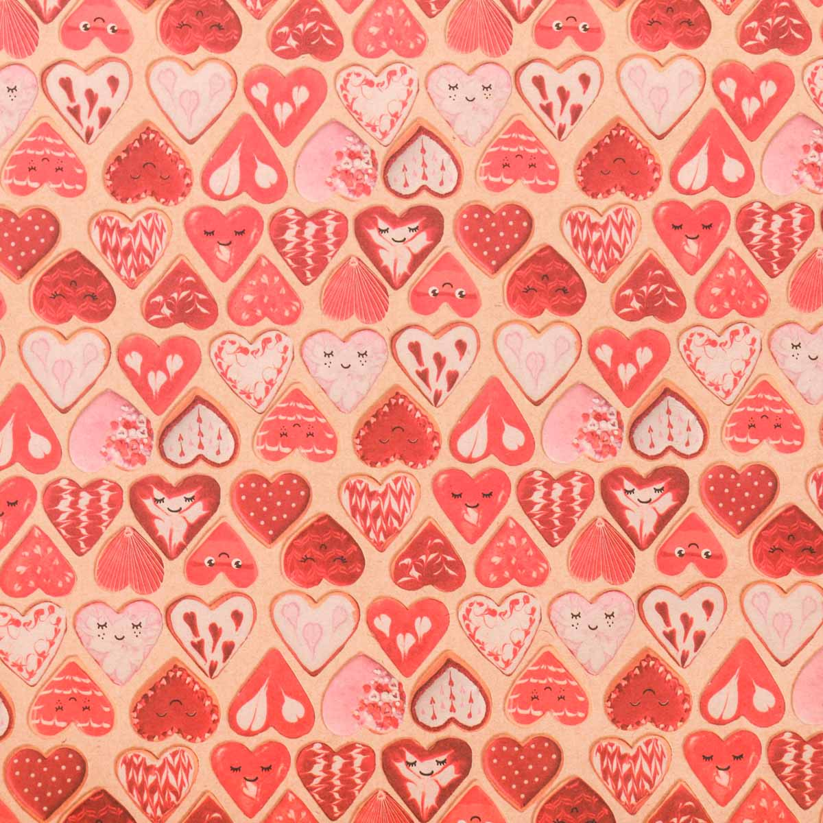 3724577 Бумага упаковочная крафтовая «Печенье любви», 50*70 см