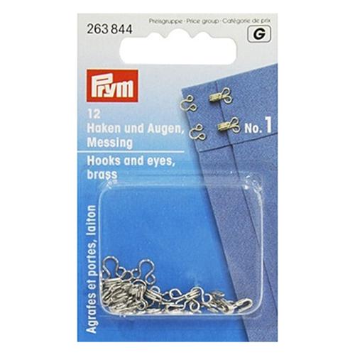 263844 Крючки и петли (латунь) 1 серебристый цв. Prym