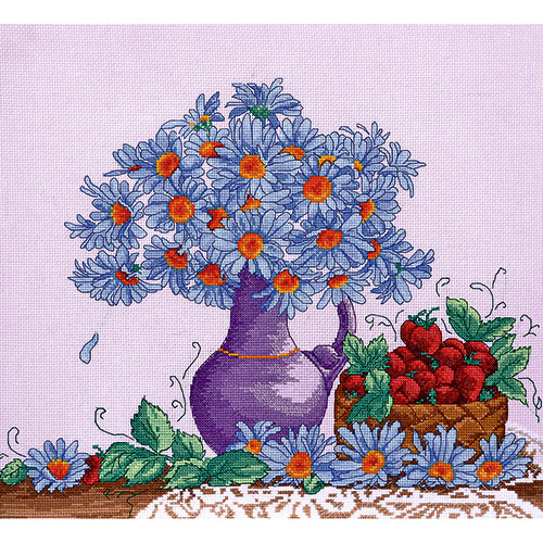 968 Набор для вышивания Hobby&Pro 'Садовые ромашки' 38*31см