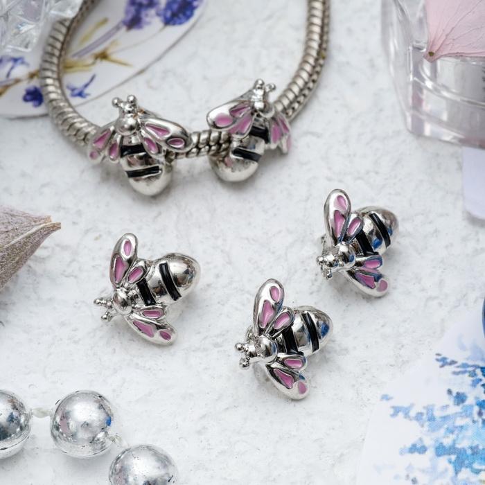 3932692 Подвеска 'Пчелка', цвет розовый в серебре