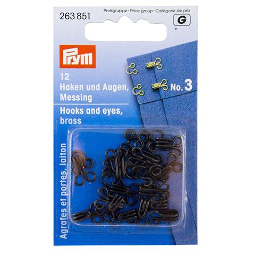 263851 Крючки и петли (латунь) 3 черный цв. Prym