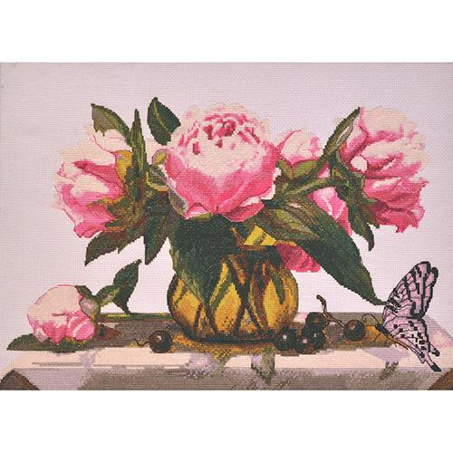 969 Набор для вышивания Hobby&Pro 'Розовые пионы' 44*28см