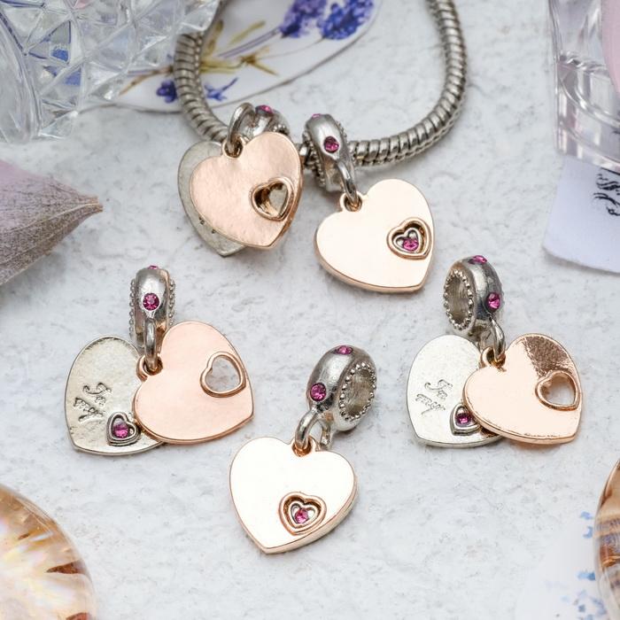 3932697 Подвеска 'Два сердца', цвет серебряно-золотой