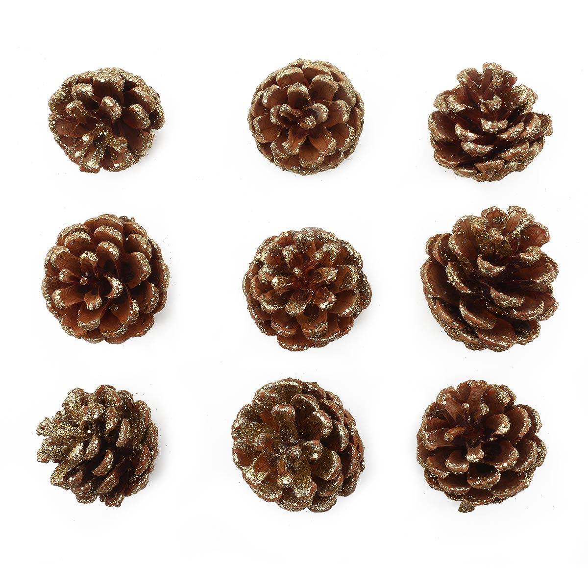 XY19-838 Шишки обработанные натуральные длина 6-8 см, 5-7 см, 9шт/упак