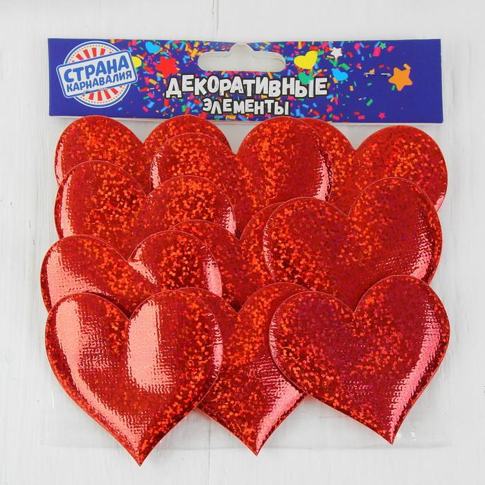 3944548 Сердечки декоративные, набор 12 шт, 6,5*6 см, цвет красный