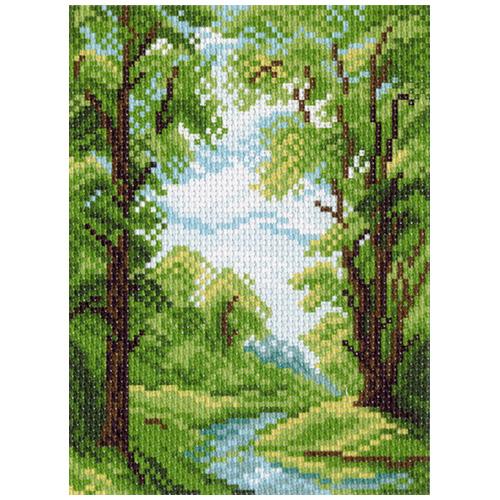 0938 Канва с рисунком Матренин посад 'Лесной ручей' 16*20 см (10*12 см)