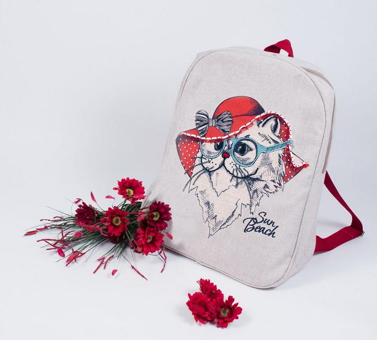 8540Набор для шитья и вышивания текстильная сумка р.44*46 Леди в красном
