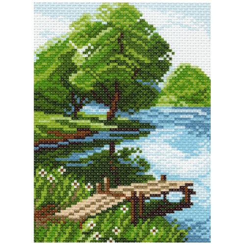 0940 Канва с рисунком Матренин посад 'Берег озера' 16*20 см (10*12 см)