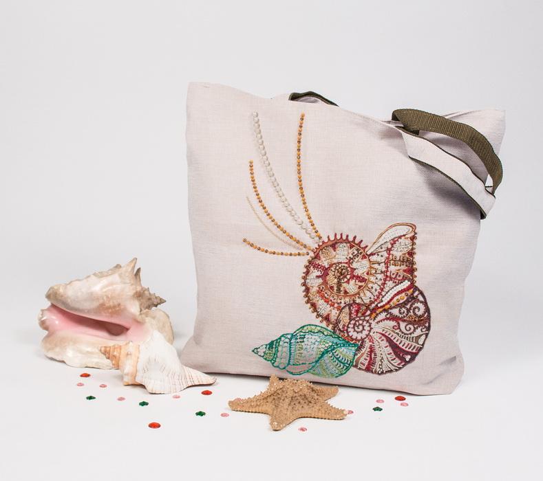 8522 Набор для шитья и вышивания текстильная сумка р.44*46 Шум прибоя