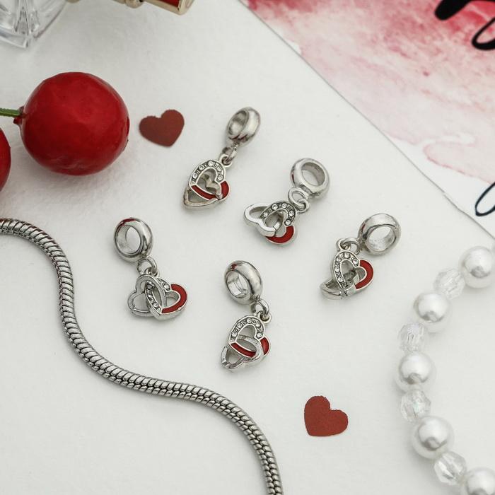 4102853 Подвеска 'Парные сердца', цвет красно-белый в серебре