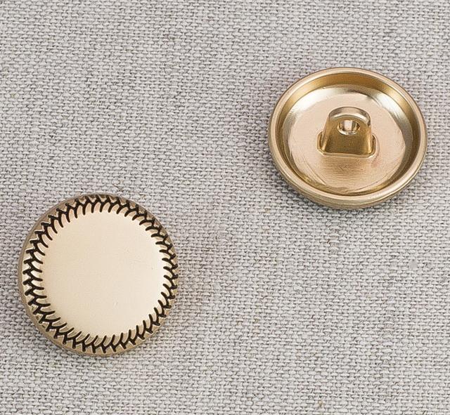 Пуговица металл ПМ44 18мм матовое золото узор, 2135001264699