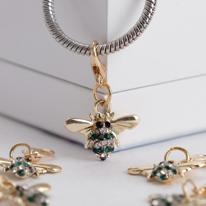 4156790 Шарм 'Пчёлка труженница', цвет бело-зелёный в золоте